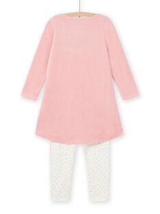 Altrosafarbenes Nachthemd für Kind Mädchen mit Schwanenmustern MEFACHUVEL / 21WH1192CHN303