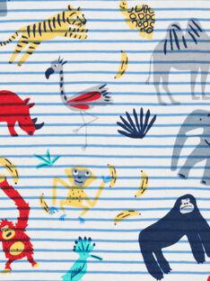 T-shirt ecru und blau mit Streifen und Tierdruck Kind Junge LOVITI1 / 21S902U1TMC001