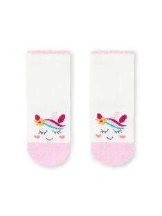 Baby Mädchen Einhorn Socken in Ecru und Rosa MYITUSOQ / 21WI09K1SOQ001