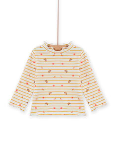 Baby Girl's Ribbed Stripe and Floral Print Unterhemd MISAUSOUP / 21WG09P1SPL001