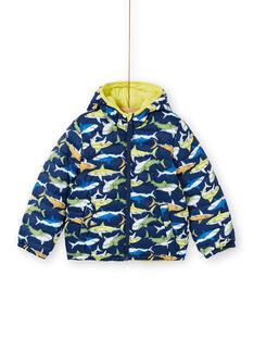 Wendbare gelbe und blaue Kapuzenjacke für Jungen und Mädchen LOGROBLOU2 / 21S902R4BLO070