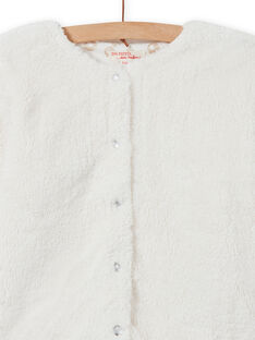 Wendbare Strickjacke aus Kunstfell in Ecru für Mädchen MAJOCARF2 / 21W90111CAR001