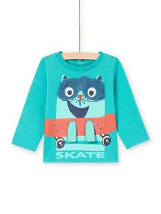 Türkises Langarm-T-Shirt mit Skater-Katzen-Design für Baby-Junge MUTUTEE1 / 21WG10K2TMLC217