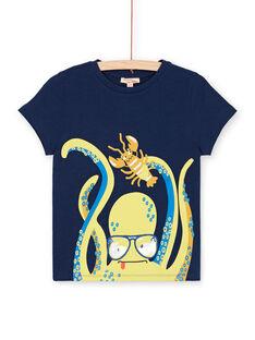 Blaues T-Shirt mit Oktopus- und Hummermotiv - Junge Kind LONAUTI1 / 21S902P2TMC070