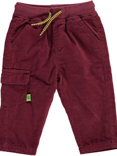 Baby boys' burgundy velour trousers DUJOPAN8 / 18WG10J2PAN503
