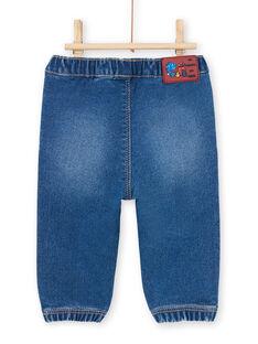 Blaue Baby-Jeans mit Dinosaurier-Aufnähern MUPAJEAN / 21WG10H1JEAP274