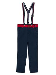 Einfarbig marineblaue Hose mit Trägern für Jungen JOWEPANT / 20S90291PAN705