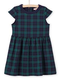 Grünes und navyblaues Kleid für Mädchen MAJOROB3 / 21W90121ROBC243