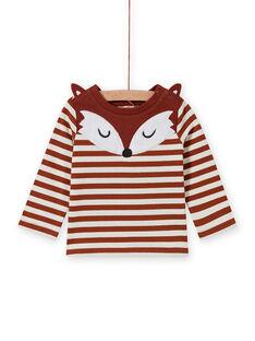 Gestreiftes Baby-Jungen-T-Shirt mit Fuchs-Print MUSAUTEE1 / 21WG10P1TMLI803
