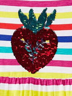 Gestreiftes ärmelloses Kleid mit Erdbeeren und zauberhaften Pailletten JAMAROB5 / 20S901P5ROB000