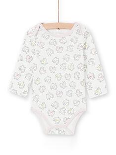 Langärmeliger Mädchen-Layette-Body mit mehrfarbigem Kätzchen-Schlickorn-Druck LEFIBODANI2 / 21SH1328BDL001