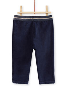 Baby Mädchen navy blau Samt Hose mit goldenen Details MIMIXPAN / 21WG09J1PAN070