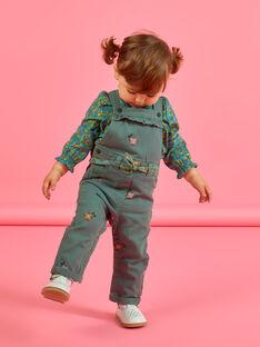 Baby Mädchen khaki floral bestickte Latzhose MIKASAL / 21WG09I1SAL626