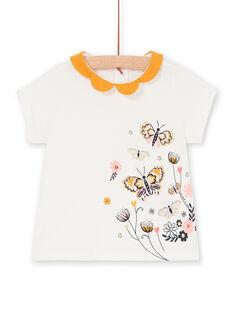 T-shirt ecru und gelb baby girl LIPOEBRAEX / 21SG09Y2BRA001