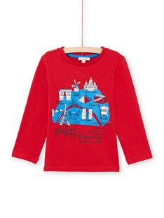 Rotes Langarm-T-Shirt für Jungen mit Pariser Stadtplan-Motiv MOJOTEE3 / 21W9022ATML505