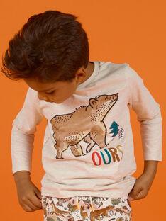 Beiges T-Shirt für Jungen mit Bärenmotiv MOSAUTEE5 / 21W902P5TMLA013