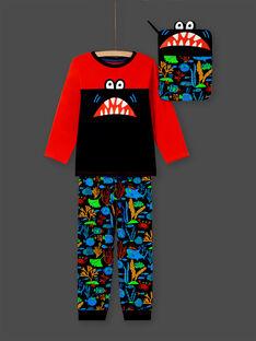 Junge orange und dunkelblau T-Shirt und Hose Pyjama-Set MEGOPYJMAN4 / 21WH1274PYGE414