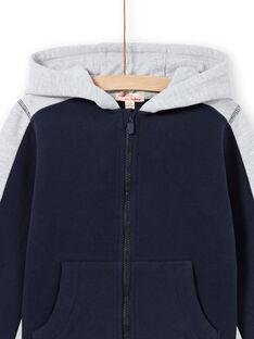 Marineblauer und grauer Kapuzenpullover für Jungen MOJOJOH1 / 21W90212JGH705