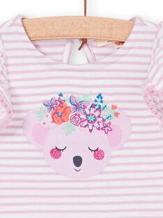 Rosa und weiß gestreiftes Baby-Mädchen-T-Shirt LIVITI / 21SG09U1TMC320
