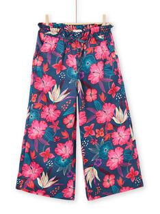 Marineblaue und rosa fließende Hose mit Blumendruck LABONPANT / 21S901W1PAN716