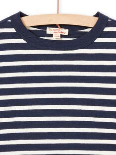 Ecru und marineblau gestreiftes Langarm-T-Shirt für Jungen MOJOTIRIB1 / 21W90226TML001