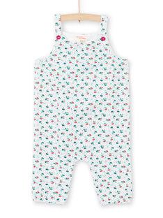 Blauer und ecrufarbener Overall für Baby-Jungen mit Blumendruck MITUCOMB / 21WG09K1CBL001