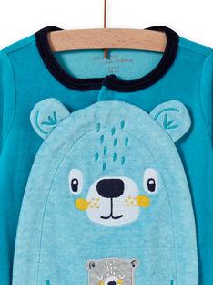 Baby Junge türkis Samt Strampler mit Teddybär-Muster MEGAGREOUR / 21WH1484GRE202
