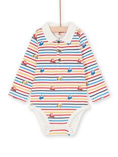 Aus weißen und gelben gestreiften Body mit Baby Junge Auto Druck LUHABOD2 / 21SG10X1BOD001