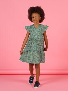 Kurzärmeliges khakifarbenes Kleid für Mädchen mit Blumendruck MAKAROB2 / 21W901I1ROB612