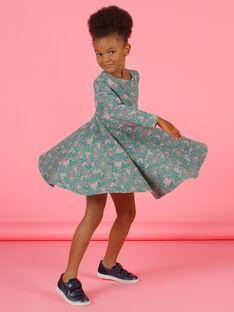 Kleid für Mädchen in Khaki und Rosa mit Blumendruck MAKAROB5 / 21W901I2ROB612