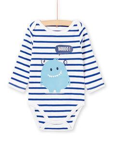Baby Junge weiß lange Ärmel gestreiften Body mit Monster-Design MEGABODMON / 21WH14B3BDL000