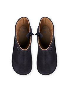 Marineblaue hohe Stiefel mit Ton-in-Ton-Punkten Kind Mädchen MABOTTEJU / 21XK3582D10070
