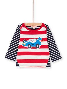 Rot und weiß gestreiftes Baby-Jungen-T-Shirt LUHATEE2 / 21SG10X1TMLF517