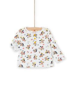 ecru T-Shirt mit Hunden Druck und schicke Baumwolle Baby Junge LUNOTUN / 21SG10L3TML001
