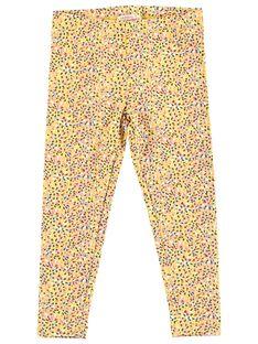 Gelbe Mädchen-Leggings mit mehrfarbigen Punkten JYATROLEG1 / 20SI01F1CALB102