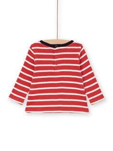 Rot und weiß gestreiftes Baumwoll-T-Shirt Baby Boy LUJOTEE5 / 21SG1031TML410