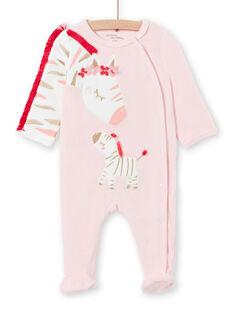 Mädchen-Schlafanzug aus Samt mit Zebramotiven LEFIGREZEB / 21SH1311GRE321