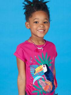 Rosa und blaues T-Shirt mit Tukan-Muster und Pailletten LANAUTI1 / 21S901P2TMCF507