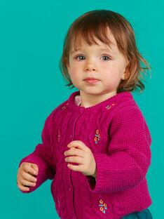 Baby Mädchen dunkel rosa bestickt gestrickte Strickjacke MITUCAR1 / 21WG09K1CARD312