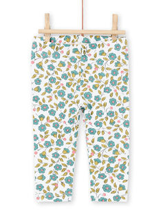 Baby Mädchen grün und ecru Blumendruck Leggings MYIKALEG / 21WI09I1CAL001