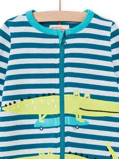 Blau gestreifter Strampler für Jungen mit Krokodilmuster MEGAGRECRO / 21WH1482GRE715