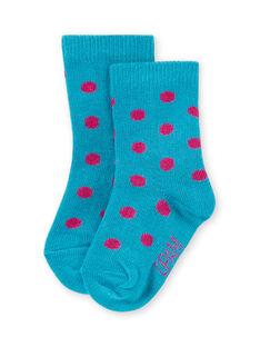Baby Mädchen Türkis Socken mit rosa Punkten MYIJOSOQ4 / 21WI091ASOQ209