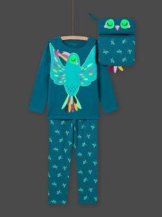 Phosphoreszierendes Vogel-Pyjama-Set für Mädchen in Türkis MEFAPYJTOU / 21WH1172PYGC217