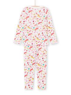 Pyjama-Set für Mädchen mit rosa und ecrufarbenen Einhörnern und einer Hose mit Fantasieaufdruck MEFAPYJUNI / 21WH1186PYJ001