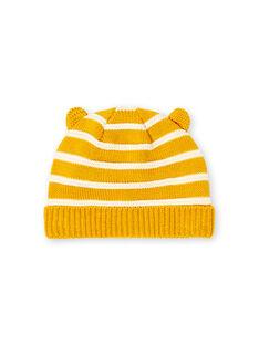 Gelb-weiß gestreifte Feinstrickmütze Baby Junge LYUNOBON / 21SI10L1BON106