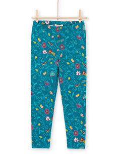 Baby Mädchen blau Ente Leggings mit Blumendruck MYATULEG1 / 21WI01K1CAL714
