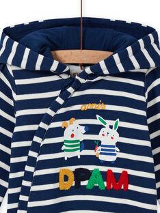 Mitternachtsblau gestreifter Overall für Baby-Jungen mit Tierprint MUMIXCOM / 21WG10J1CBL713