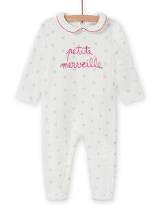 Strampler für Baby-Mädchen in Ecru mit Tupfen und Claudine-Kragen MEFIGRETIT / 21WH1381GRE001