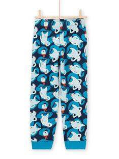 Pyjama-Set T-Shirt und Hose für Jungen in Blau und Marineblau MEGOPYJMAN2 / 21WH1271PYG705