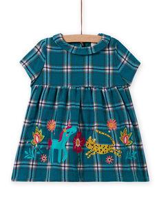 Türkisfarbenes kariertes und gemustertes Kleid für Baby-Mädchen MITUROB3 / 21WG09K1ROBC217